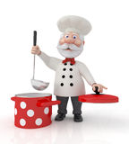 The 3D cook with a pan. Stock Photo