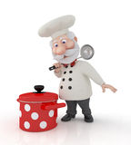 The 3D cook with a pan. Royalty Free Stock Photo