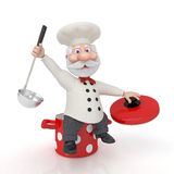 The 3D cook with a pan. Stock Photos