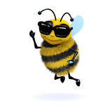 3d Cool bee. 3d render of a bee waving and wearing sunglasses Stock Photos