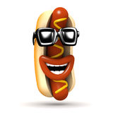 3d Cool hot dog laughs heartily Royalty Free Stock Image