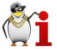 3d Cool penguin has information Stock Photography
