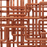 3d Copper pipes arrangement. 3d render of a knot of copper pipes Royalty Free Stock Photography