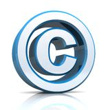 3D copyright symbol. 3D illustration of the copyright symbol or sign Stock Photos