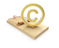 3d Copyright symbol in mousetrap Stock Photo