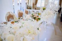 D?coration du hall de banquet le jour du mariage image libre de droits