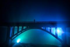 D?coration d'illustration Silhouette de pont m?tallique puissant la nuit avec le contre-jour brumeux Silhouette de la position de photos libres de droits