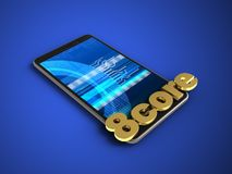 3d 8 core sign. 3d illustration of mobile phone over blue background with 8 core sign Stock Photo
