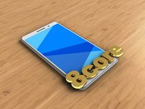 3d 8 core sign. 3d illustration of white phone over wooden background with 8 core sign Stock Photography