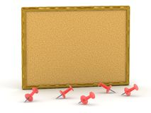 3D cork board with pins Royalty Free Stock Images