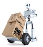3d correio Robot com caminhão de mão Conceito livre da entrega Isolado com trajeto de grampeamento Fotografia de Stock