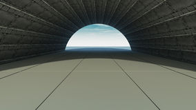 3d corridor. 3d design. Futuristic corridor and global illumination Royalty Free Stock Image
