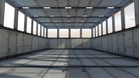 3d corridor. 3d design. Futuristic corridor and global illumination Royalty Free Stock Photo