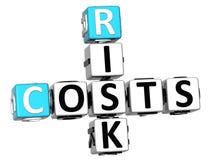 3D costa le parole del cubo delle parole incrociate di rischio Fotografie Stock Libere da Diritti