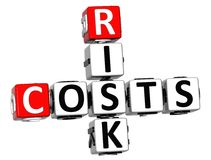 3D Costs Risk Crossword cube words. On white background Stock Photo