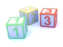 3d Counting blocks Royalty Free Stock Photo