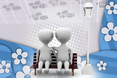 3d couple on bench illustration Royalty Free Stock Photos