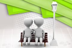 3d couple on bench  illustration Stock Image