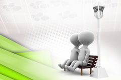 3d couple on bench  illustration Royalty Free Stock Image