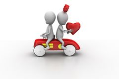 3d couple on car concept Stock Images