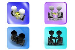 3D couple on date concept icon Royalty Free Stock Images
