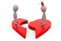 3d couple heart break concept Royalty Free Stock Photo