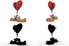 3d couple heart window concept collections with alpha and shadow channel Stock Images