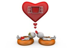3d couple heart window concept Royalty Free Stock Photography