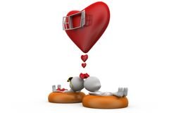 3d couple heart window concept Royalty Free Stock Images