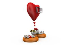 3d couple heart window concept Royalty Free Stock Image