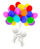3D couple holding balloons Stock Image
