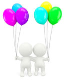 3D couple holding balloons Royalty Free Stock Images