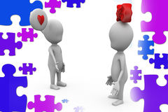 3d couple i love you  illustration Royalty Free Stock Images