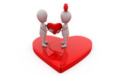 3d couple join heart concept Royalty Free Stock Photography