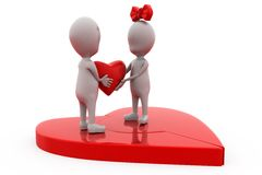 3d couple join heart concept Royalty Free Stock Image