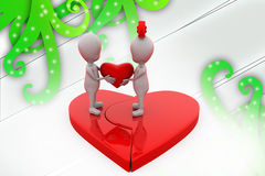 3d couple join heart illustration Royalty Free Stock Photo