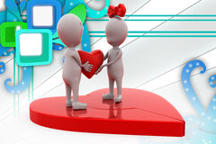 3d couple join heart illustration Royalty Free Stock Photography