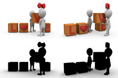 3d couple love cube concept collections with alpha and shadow channel Stock Photography