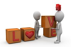 3d couple love cube concept Royalty Free Stock Photography