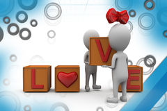 3d couple love cube  illustration Royalty Free Stock Images
