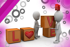3d couple love cube  illustration Stock Photography