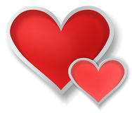 3D couple paper hearts on white background (vector Stock Photography