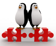 3d couple penguin standing over puzzle concept Stock Image