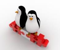 3d couple penguin standing over puzzle concept Stock Photo