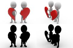 3d couple with piece of broken heart concept collections with alpha and shadow channel Royalty Free Stock Photography