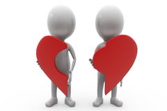 3d couple with piece of broken heart concept Stock Photography