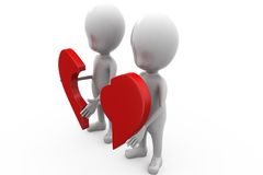 3d couple with piece of broken heart concept Royalty Free Stock Images