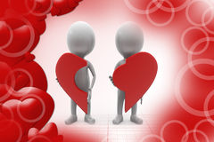 3d couple with piece of broken heart illustration Stock Photo