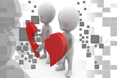 3d couple with piece of broken heart illustration Stock Photos