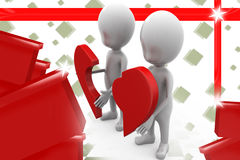 3d couple with piece of broken heart  illustration Stock Images